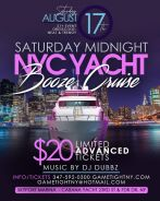 NYC Yacht Party Saturday Midnight Booze Cruise at Skyport Marina